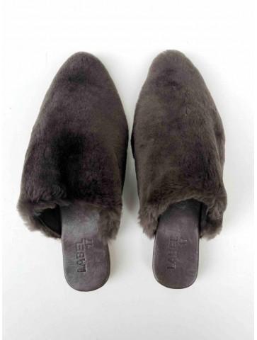 Babouche lambskin dark brown
